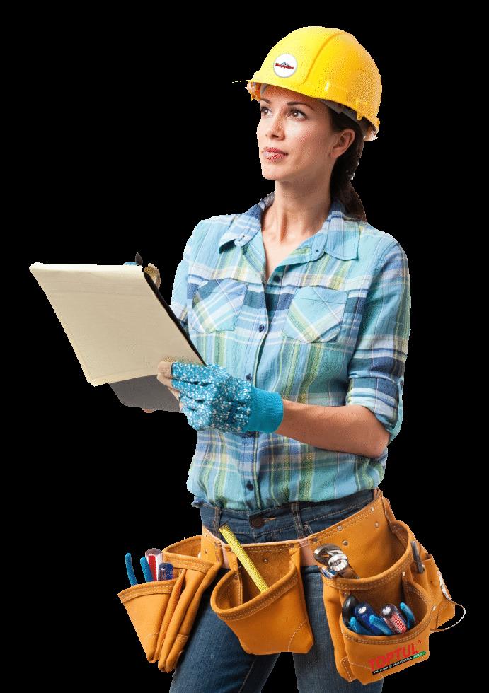 girl construction tool belt hard hat